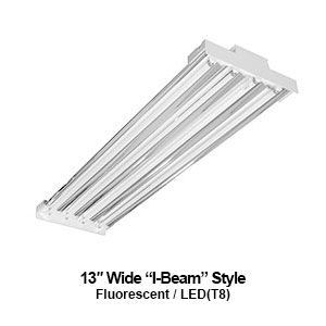 The IBT100 is a 13-inch wide I-Beam style high bay commercial fluorescent fixture