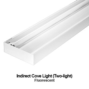 The ICL209 is a 2-lamp commercial fluorescent indirect cove light