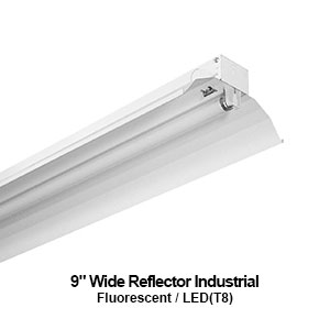 The IND100 is a 1-lamp fluorescent industrial fixture designed with a 9-inch wide reflector