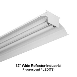 The IND200 is a 2-lamp industrial fluorescent fixture designed with a 12-inch wide reflector