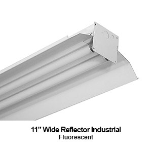 The IND240 is a fluorescent industrial strip fixture with a 11-inch wide reflector