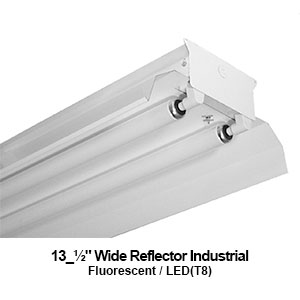 The IND300 is an industrial 2-lamp fluorescent fixture with a reflector