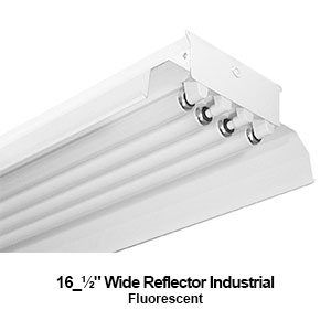 The IND400 is a 4-lamp fluorescent industrial fixture with a 16.5-inch wide reflector
