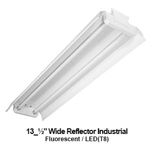 The IND500 is a 2-lamp industrial fluorescent fixture with a 13.5-inch reflector