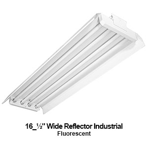 "The IND600 is a 4-lamp industrial fluorescent fixture with a 16.5"" wide reflector"