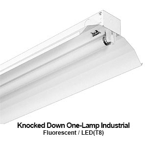 The KDI100 is a knocked down 1-lamp industrial fluorescent fixture with reflector