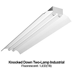 The KDI200 is a knocked down 2-lamp industrial fluorescent fixture with reflector