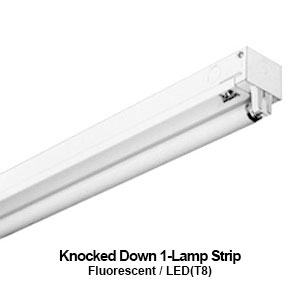 The KDS100 is a knocked down 1-lamp commercial fluorescent strip