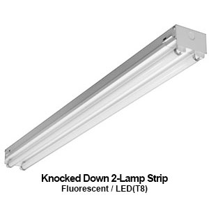 The KDS200 is a commercial fluorescent 2-lamp knocked down strip