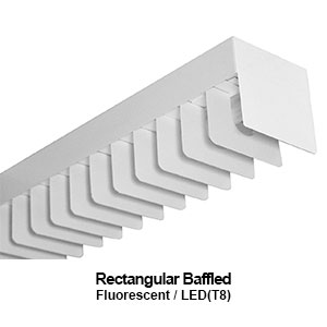 The LST100 is a rectangular baffled commercial fluorescent fixture