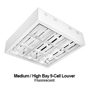 The MBL520 is a medium high bay 9-cell louvered commercial fluorescent fixture