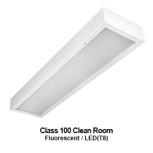 The MCR210 is a 1x4 surface mount commercial LED Class 100 clean room fixture