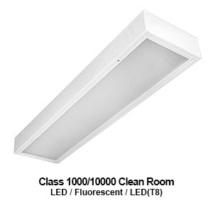 The MCR710 is a 1x4 surface mount commercial LED Class 1000/10000 clean room fixture