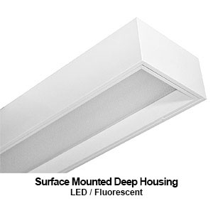 The MDH410 is a 1x4 surface mount deep housing commercial LED lighting fixture