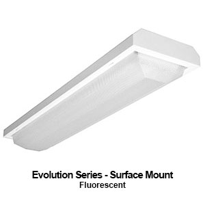 The MEV110 is a 1x4 surface mount Evolution Series commercial fluorescent fixture