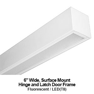 6-inch wide surface mount hinge and latch door frame commercial fluorescent fixture