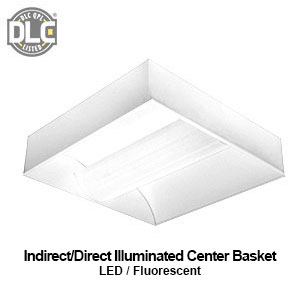 The MIC120 is a DLC qualified indriect/direct center basket commercial LED fixture