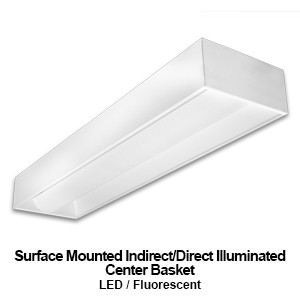 The MIC110 is a surface mounted indirect/direct illuminated center basket commercial fluorescent lighting fixture