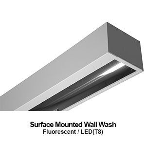 The MWW206 is a 6-inch wide surface mount wall wash commercial fluorescent fixture