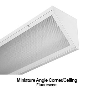 Miniature design of a corner mount commercial fluorescent lighting fixture