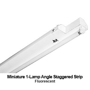 The MXAST200-1 is miniature designed 1-lamp angled staggered strip commercial fluorescent fixture