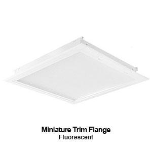 The MXFTB100 is a mini designed trim flange commercial fluorescent fixture