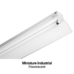 The MXIND100 is a miniature design industrial fluorescent fixture complete with reflector