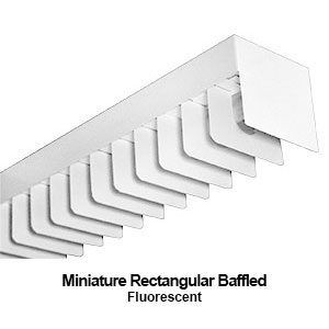 The MXLST100 is a mini designed rectangular baffled commercial fluorescent lighting fixture