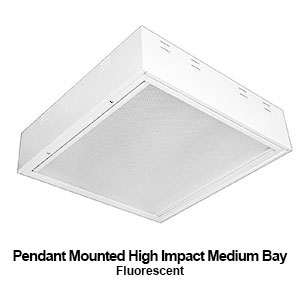 The PBL229 is a pendant mounted high impact medium bay commercial fluorescent fixture