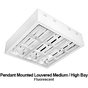 The PBL520 is a pendant mounted louvered medium / high bay commercial fluorescent fixture