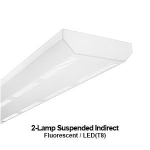 The PID200 is a 2-lamp suspended indirect commercial fluorescent fixture perfect for library and office applications