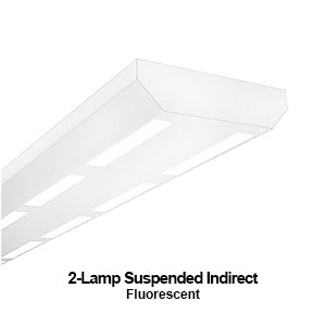 The PID300 is a 2-lamp suspended indirect commercial fluorescent fixture