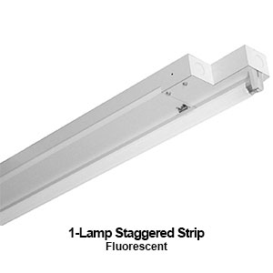 The STG100-1 is a 1-lamp staggered commercial fluorescent strip