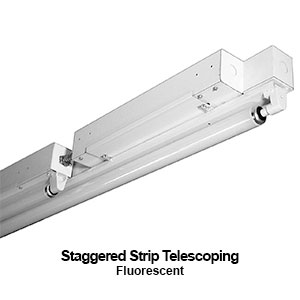 The STG100-1 is a telescoping staggered commercial fluorescent strip