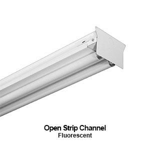 The STR200 is a fluorescent 2-lamp open strip commercial lighting fixture