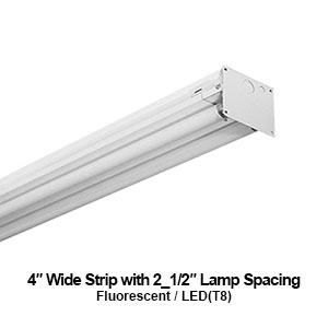 The STR240 is a commercial fluorescent 4-inch wide strip with 2.5-inch lamp spacing