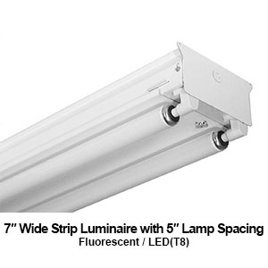 The STR300 is a 7-inch wide fluorescent commercial fixture with 5-inch lamp spacing