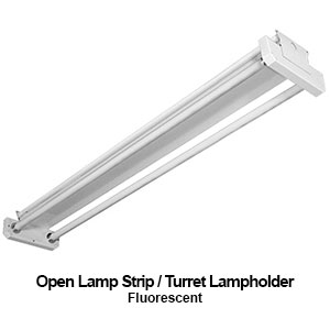 The STR500 is an open lamp commercial fluorescent strip with turret style lampholders