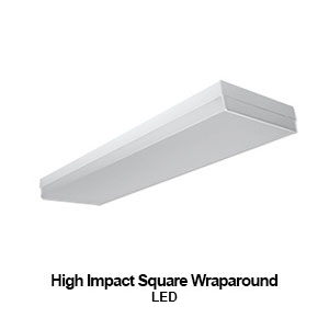 The WCP300 is a high impact square commercial LED wraparound fixture