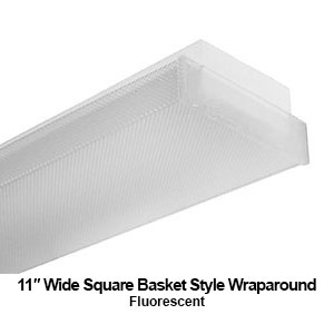 The WSB100 is a 11-inch wide square basket style commercial fluorescent wraparound fixture