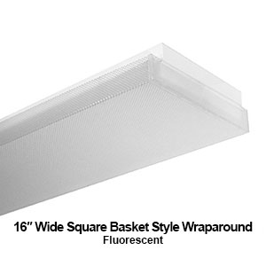 The WSB200 is a 16-inch wide square basket style commercial fluorescent wraparound fixture