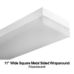 The WSM100 is an 11-inch wide square metal sided wraparound commercial LED fixture