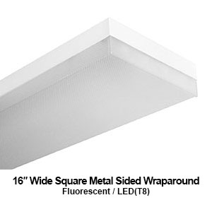 The WSM200 is a 16-inch wide square metal sided commercial fluorescent wraparound fixture