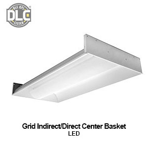 The GIC920 is a DLC qualified grid mounted commercial LED indirect - direct center basket fixture