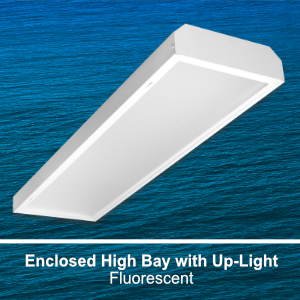 The EBY151 is an enclosed commercial fluorescent high bay fixture with uplight