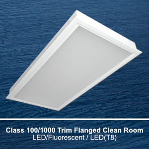 The FCR720 is a Class 1000/10000 recessed trim flanged clean room commercial LED fixture
