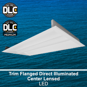 The FDC320 is a 2x2 and 2x4 DLC qualified trim flanged direct illuminated center lensed commercial LED fixture