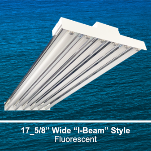 The IBT200 is a 17.625-inch wide I-Beam style high bay commercial fluorescent fixture