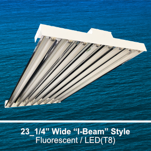 The IBT300 is a 23.25-inch wide I-Beam style high bay commercial fluorescent fixture
